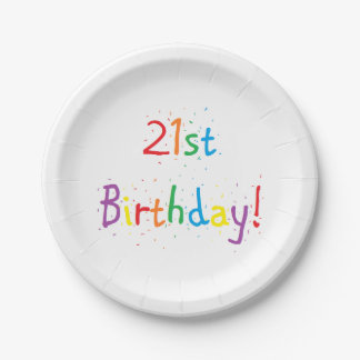 """""""21st Birthday"""" Paper Plates 7 Inch Paper Plate"""