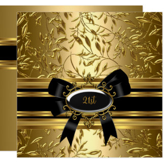 "21st Birthday Party Black Gold Floral 2 5.25"" Square Invitation Card"