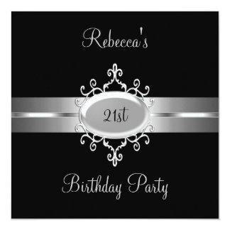 "21st Birthday Party Black Silver 5.25"" Square Invitation Card"