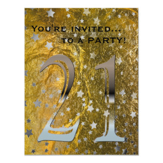 21st Birthday Party Black Silver | Faux Gold Foil Card