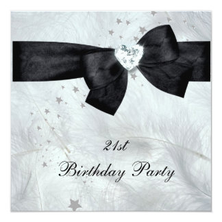 21st Birthday Party Black White Card