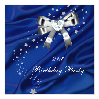 21st Birthday Party Blue Silver Card