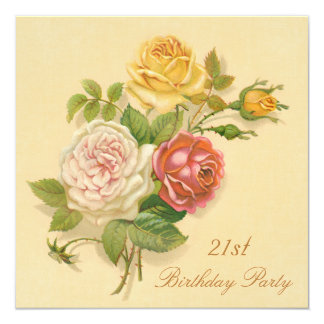 "21st Birthday Party Chic Vintage Roses 5.25"" Square Invitation Card"