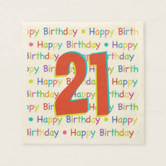 21st Birthday Party Customizable Age Paper Napkin