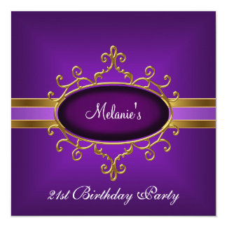21st Birthday Party Elegant Purple Gold Card