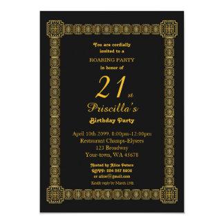 21st,Birthday Party,Gastby Style, Black & Gold v3b Card