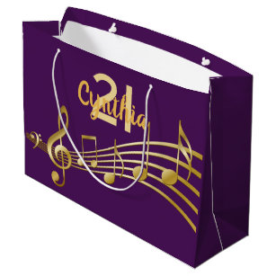 21st Birthday Party Gold Music Notes Girly Purple Large Gift Bag
