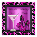 "21st Birthday Party Hot Pink Leopard Martini 5.25"" Square Invitation Card"