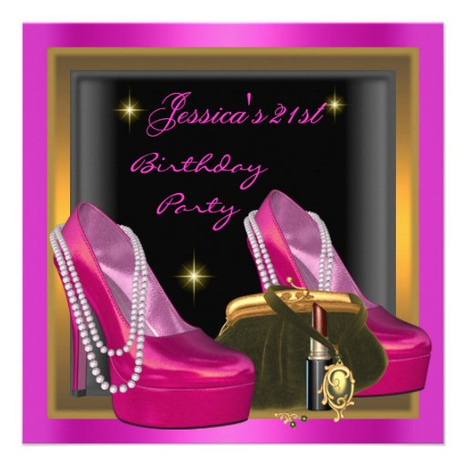 21st Birthday Party Hot Pink Shoe Gold