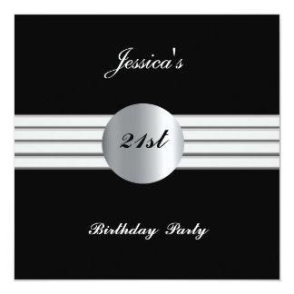 21st  Birthday Party Invitation Black