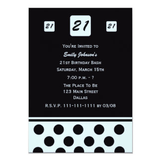 21st Birthday Party Invitation Modern 21 in Blue