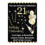 "21st Birthday Party Invitations - Black & Gold 5"" X 7"" Invitation Card"