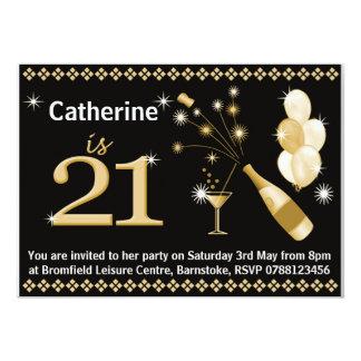 21st Birthday Party Invitations - Black & Gold