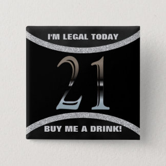 21st Birthday Party | Number 21 Silver Glitter 2 Inch Square Button