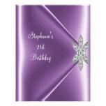 21st Birthday Party Purple Mauve Diamond Jewel Personalized Invites