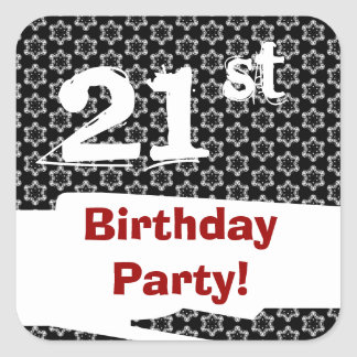 21st Birthday Party Red White Black W1980 Square Sticker