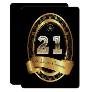 21st,birthday party woman man,elegant color card