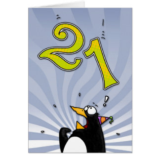 21st Birthday - Penguin Surprise Card