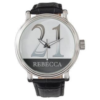 21st Birthday Personalized Chalkboard Number 21 Watch