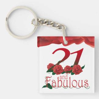 21st Birthday photo frame red rose keychain