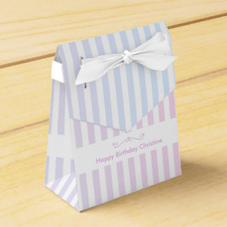 21st Birthday Pink and Blue Stripes Favor Box