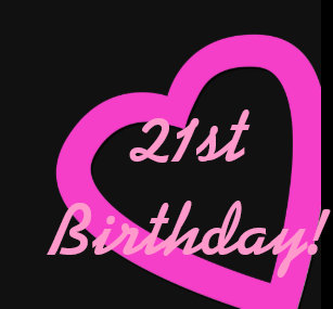 21st Birthday Pink Hearts On Black Gift Wrap Wrapping Paper