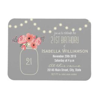 21st Birthday Pink Watercolor Flowers & Mason Jar Rectangular Photo Magnet