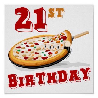 21st Birthday Pizza Party Poster