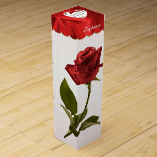 """21st Birthday"" Red Roses Floral Photography Wine Box"