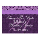 21st Birthday Save the Date Purple Antique Lace Postcard