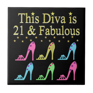 21ST BIRTHDAY SHOE QUEEN DESIGN TILE