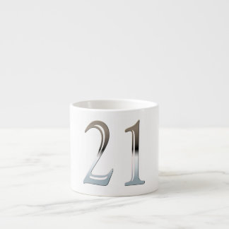 21st Birthday Silver Number 21 Espresso Cup