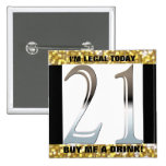 21st Birthday Silver Number 21 Pinback Buttons