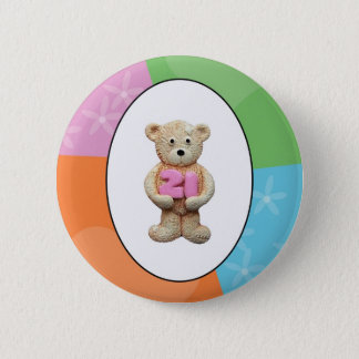 21st Birthday Teddy Bear 2 Inch Round Button