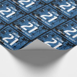21st Birthday Twenty One Rocks BLUE Grunge F21Z Wrapping Paper