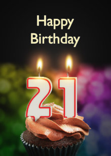21st Birthday With Cake And Candles Card