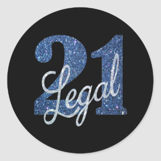 21st Blue | 21 Legal Glitter Fun Birthday Party Classic Round Sticker