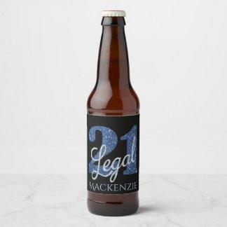 21st Blue | Name 21 Legal Glitter Black Party Beer Bottle Label