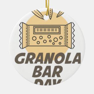 21st January - Granola Bar Day Round Ceramic Ornament