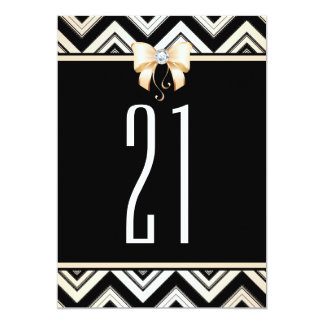 21st Party | Champagne Chevrons & Chic Diamond Bow Card