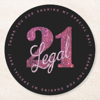 21st Pink | Thank You Custom 21 Legal Glitter Round Paper Coaster