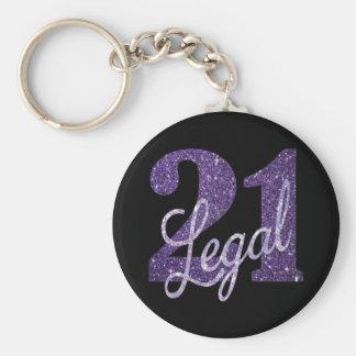21st Purple | 21 Legal Glitter Black Party Theme Keychain