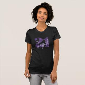 21st Purple | 21 Legal Glitter Black Party Theme T-Shirt