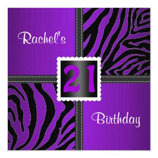 21st purple birthday party invitation