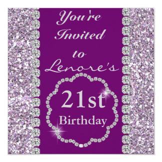 "21st PURPLE BLING Birthday Party Invitation 5.25"" Square Invitation Card"