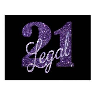 21st Purple | Thank You Custom 21 Legal Glitter Postcard