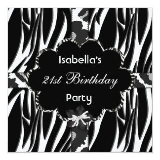21st Teen Birthday Party Black White Wild  Zebra Card