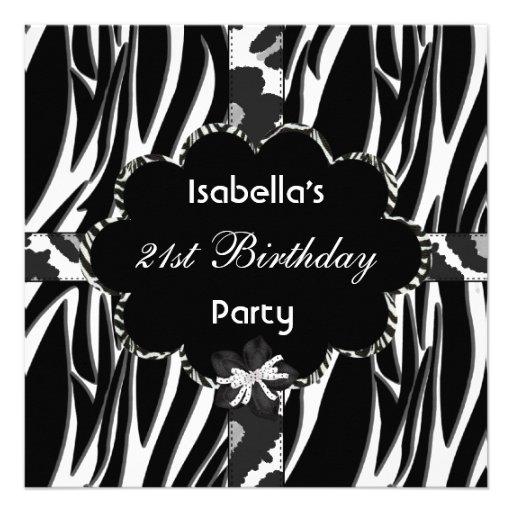 21st Teen Birthday Party Black White Wild  Zebra Personalized Announcement