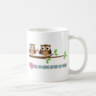 21st Wedding Anniversary Owls Coffee Mug