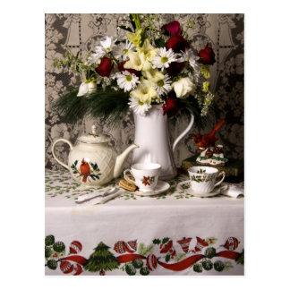 2209 Teatime Floral Still Life Christmas Postcard